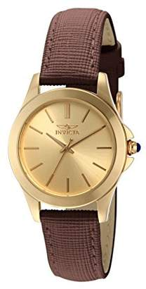"Invicta Women's 15150""Angel"" 18k Yellow Gold Ion-Plated Stainless Steel and Brown Leather Watch"