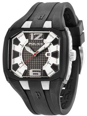 Police Men's PL.93882AEU/04 Quartz Watch with Silver Dial Analogue Display and Silicone Strap