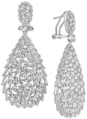 Tiara Cubic Zirconia Openwork Teardrop Drop Earrings in Sterling Silver