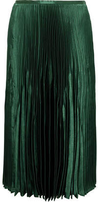 Vince Pleated Satin Midi Skirt - Green