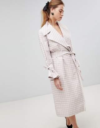 Asos Design Gingham Belted Coat