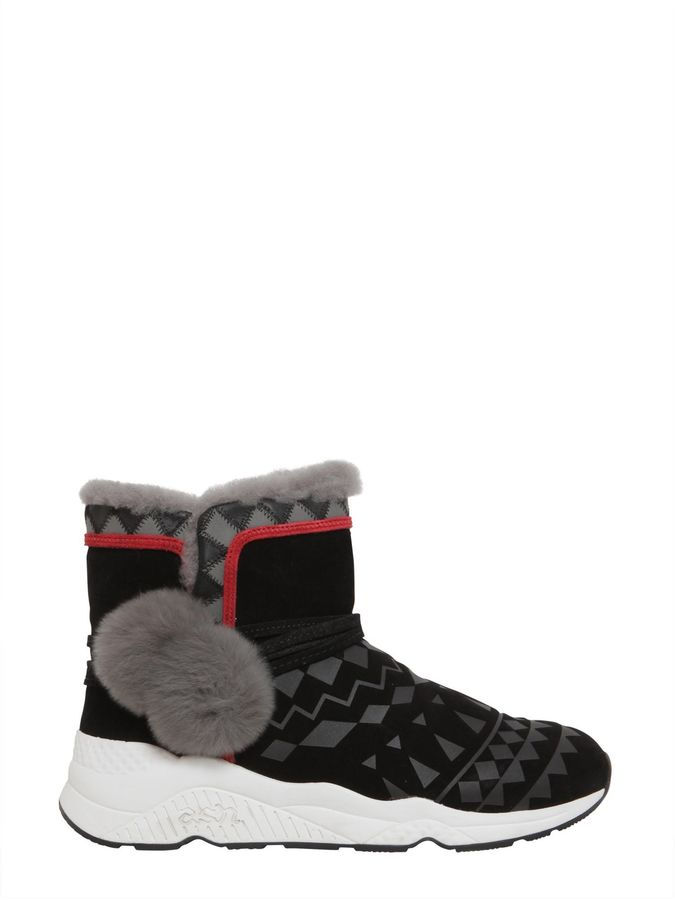 AshPatterned Mongolia Shearling Suede Boots