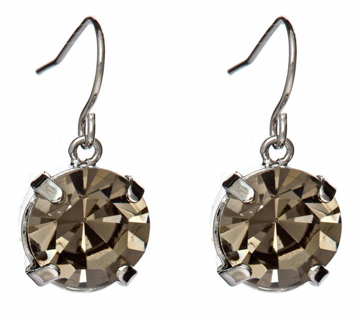 ABS Black Diamond Crystal Circle Drop Earrings