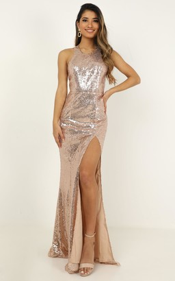 Showpo About the drama dress in Champagne Sequin - 4 (XXS) Dresses