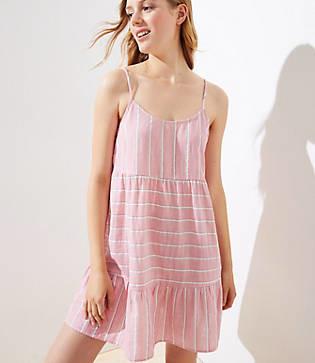 LOFT Beach Striped Strappy Tiered Dress