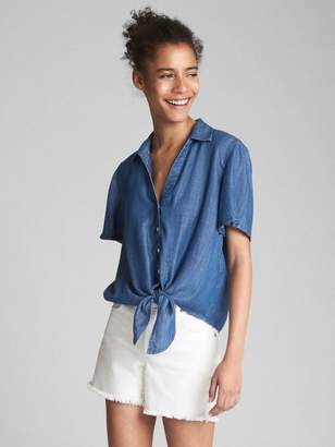 Gap Short Sleeve Tie-Front Shirt in TENCEL?