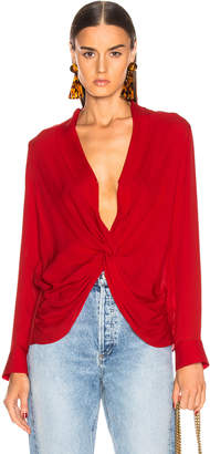 L'Agence Mariposa Blouse in Engine Red | FWRD