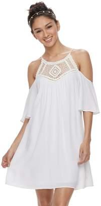Speechless Juniors' Crochet Cold-Shoulder Dress