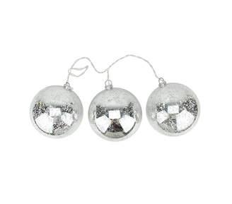 Asstd National Brand Set of 3 Lighted Silver Mercury Glass Finish Ball Christmas Ornaments - Clear Lights