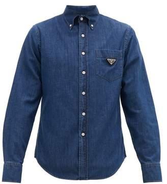 Prada Triangle Plaque Cotton Chambray Shirt - Mens - Blue