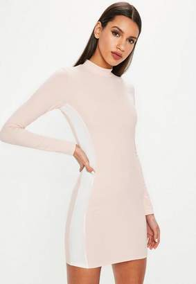 Missguided Nude High Neck Side Stripe Mini Dress