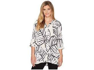 Nic+Zoe Etched Leaves Top Women's Clothing