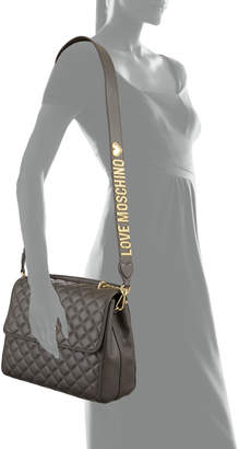 Love Moschino Quilted Leather Flap Shoulder Bag