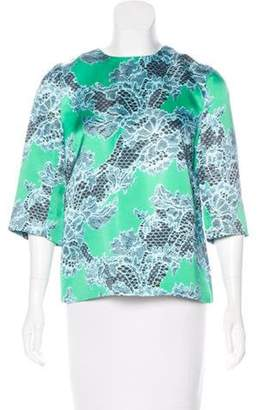 Jonathan Saunders Printed Short Sleeve Top green Printed Short Sleeve Top