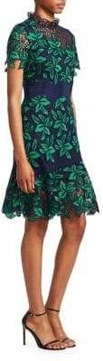Sea Women's Mosaic Floral Crochet Dress - Green Navy - Size 6