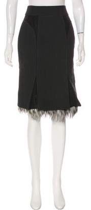 J. Mendel Fur-Trimmed Wool Skirt Black Fur-Trimmed Wool Skirt