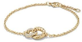 David Yurman Belmont Curb Link Pendant Bracelet with Diamonds in 18K Gold $1,900 thestylecure.com