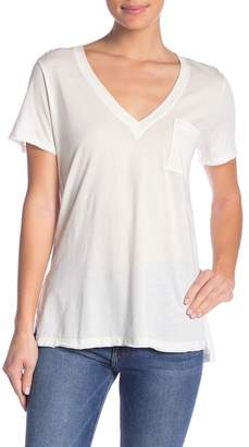 Lush Hi-Lo Raw Edge V-Neck Tee