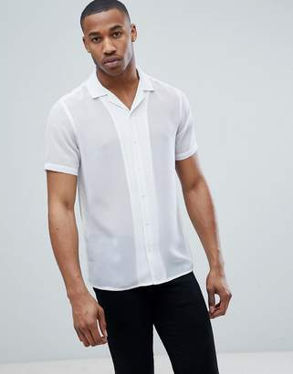 Asos Design Regular Fit Revere Collar Sheer Shirt