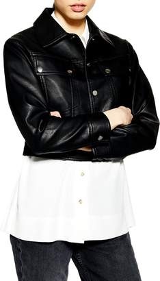 Topshop Harrington Faux Leather Jacket