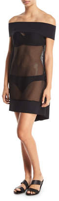 Chiara Boni Noor Off-the-Shoulder Mesh Coverup Dress
