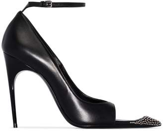 Saint Laurent black Palace 105 stud embellished cutout leather pumps