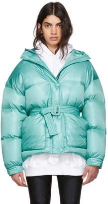 Ienki Ienki Blue Michlin Belted Down Puffer Jacket