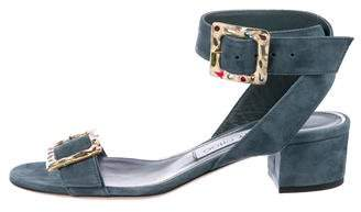Jimmy Choo Suede Buckle Sandals