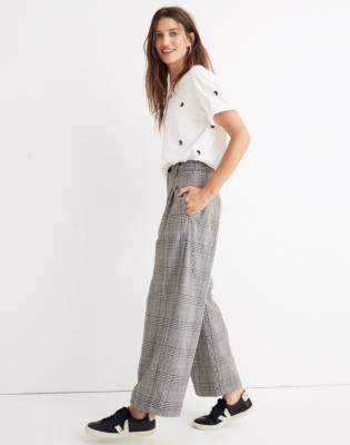 Madewell Pleated Wide-Leg Pants in Plaid