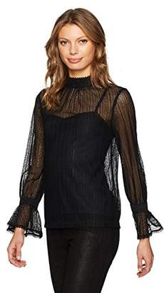 Trina Turk Women's Cicero Noir Stripe Lace Mock Neck Top