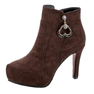 3f569d036bf3f Brown Suede High Heel Booties - ShopStyle Canada