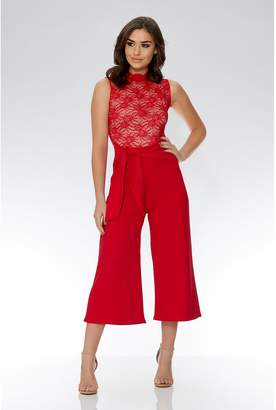 Quiz Red And Nude Lace High Neck Jumpsuit