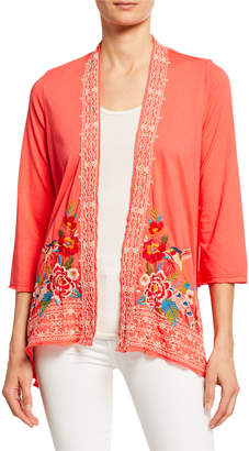Johnny Was Samira Floral Embroidered Arched Cardigan