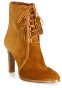Michael Kors Collection Odile Suede Lace-Up Booties $495 thestylecure.com