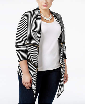 Belldini Plus Size Zip-Trim Striped Cardigan