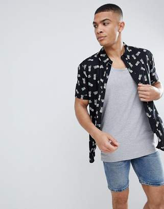 Another Influence Pinapple Print Boxy Fit Short Sleeve Shirt