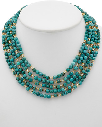 Rachel Reinhardt 14K Over Silver Turquoise & Crystal Necklace