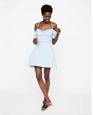 Express off the shoulder smocked waist mini dress