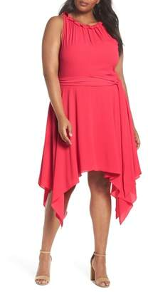 Eliza J Handkerchief Hem Fit & Flare Dress