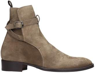 Marc Ellis High Heels Ankle Boots In Taupe Suede