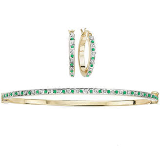 FINE JEWELRY 2-pc. Genuine Emerald & Diamond Accent Gold Over Silver Earring & Bangle Set
