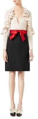 Gucci Ruffle-Sleeve Silk& Wool Bow Dress