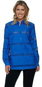Susan Graver Woven Eyelet Long Sleeve ButtonFront Shirt