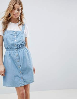 Miss Selfridge pinafore dress in chambray with shirred waist