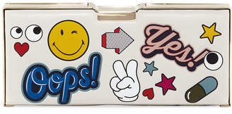 Anya Hindmarch Embellished Pencil Case Clutch Bag, White