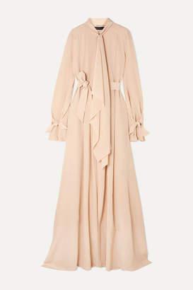 Roland Mouret Valetta Tie-neck Pintucked Silk Crepe De Chine Gown - Beige