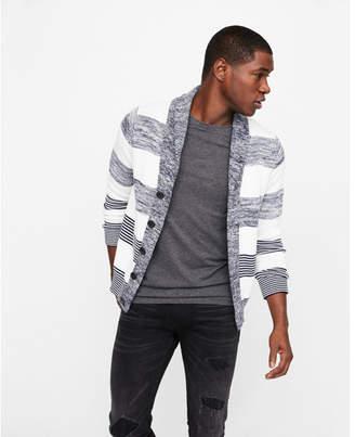 Express mix stripe shawl collar cardigan