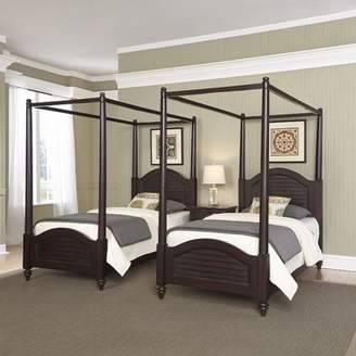 Home Styles Bermuda Espresso Two Twin Canopy Beds and Night Stand