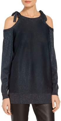 St. John Glitter Jersey Knit Cold Shoulder Sweater