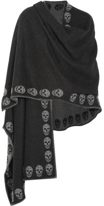 Alexander McQueen - Reversible Intarsia Cashmere Wrap - Charcoal $1,945 thestylecure.com